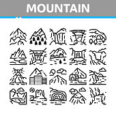 Mountain Landscape Collection Icons Set Vector. Forest And Camping On Mountain, Volcano And Cave, City Buildings And Bridge Concept Linear Pictograms. Monochrome Contour Illustrations