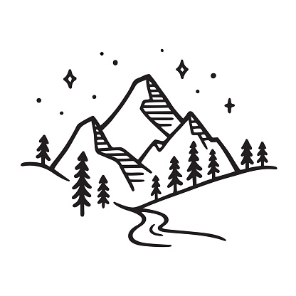 Mountain landscape drawing clipart