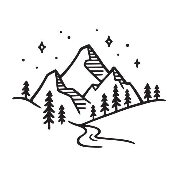 ilustrações, clipart, desenhos animados e ícones de desenho da paisagem da montanha - exterior
