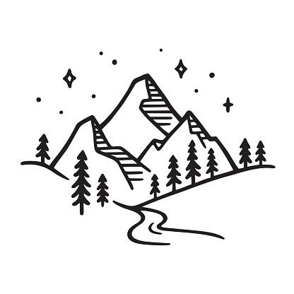 Vetores de Desenho Da Paisagem Da Montanha e mais imagens de Alpes europeus