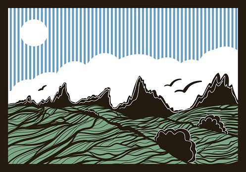 mountain landscape, graphic design