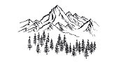 istock Mountain landscape, hand drawn illustration 1220199535