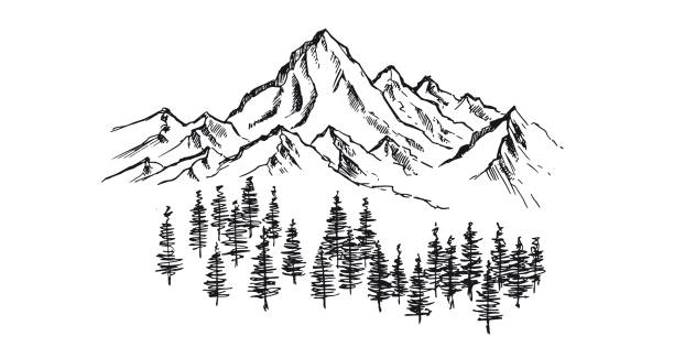 Mountain landscape, hand drawn illustration Mountain landscape, hand drawn illustration land feature stock illustrations