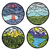 Mountain landscape icon set. Ice tops and clouds around, river and grass. Colored illustration.