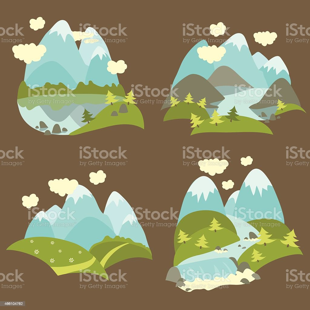Mountain landscape icons set vector art illustration