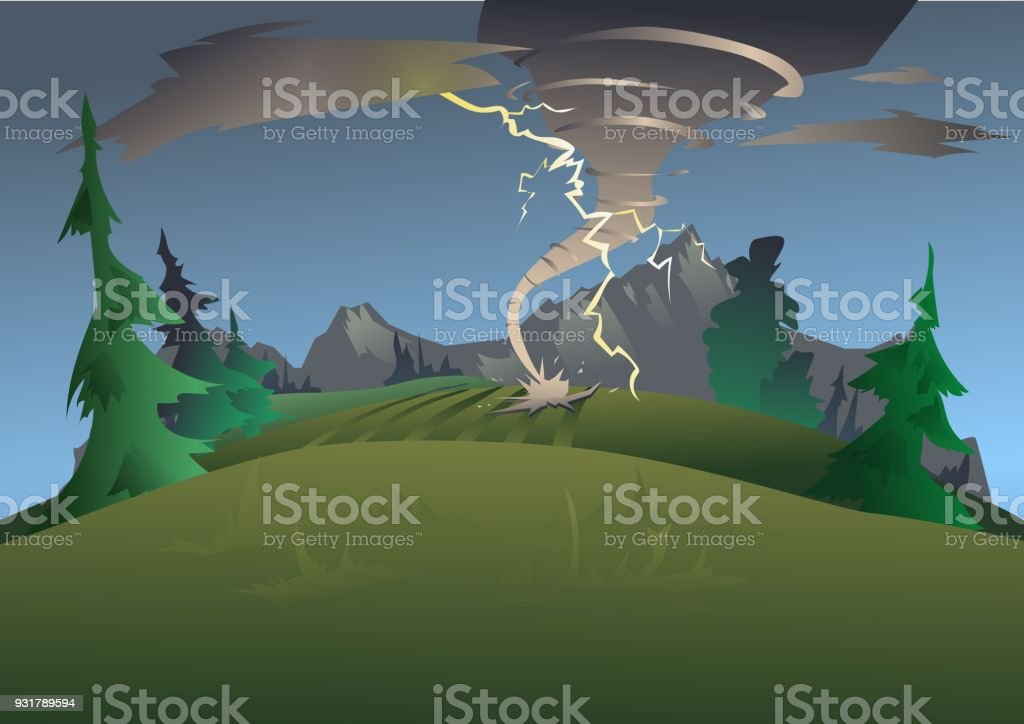 Mountain landscape in bad weather. Tornado, hurricane and lightning....
