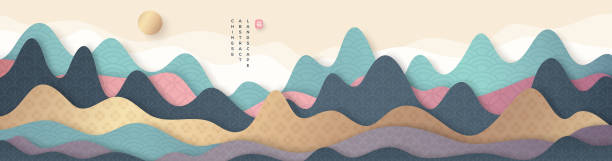 mountain landscape in chinese style - rock formations stock illustrations