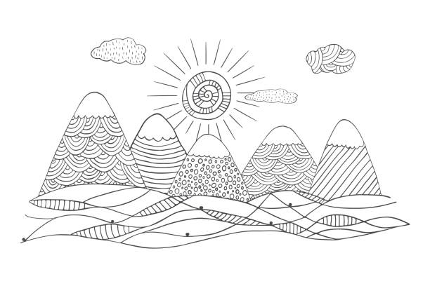 mountain landscape in hand drawn style with cute sun and clouds - black and white mountain stock illustrations, clip art, cartoons, & icons