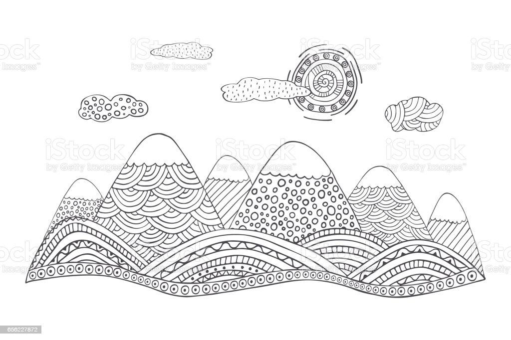 Ilustración de Paisaje De Montaña Estilo Dibujado A Mano Con El ...