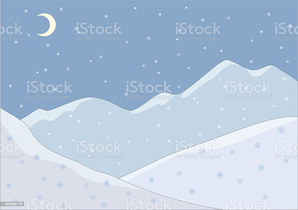 Mountain landscape in night royalty-free stock vector art