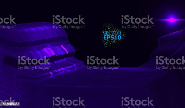 Mountain Landscape In The Style Of Wireframe The Cosmic Landscape Of Another Planet Stock Illustration Download Image Now Istock