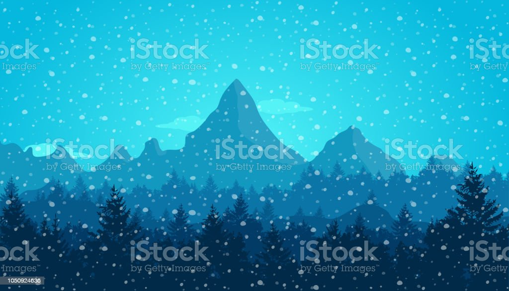 Paysage De Montagne En Hiver Neige Qui Tombe Concept De Noël Nouvel