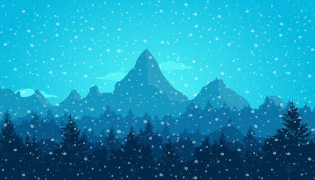 Mountain landscape in winter. Snow falling. Christmas concept. New Year. Travel and vacation concept. Flat vector illustration Mountain landscape in winter. Snow falling. Christmas concept. New Year. Travel and vacation concept. Flat vector illustration gelado stock illustrations