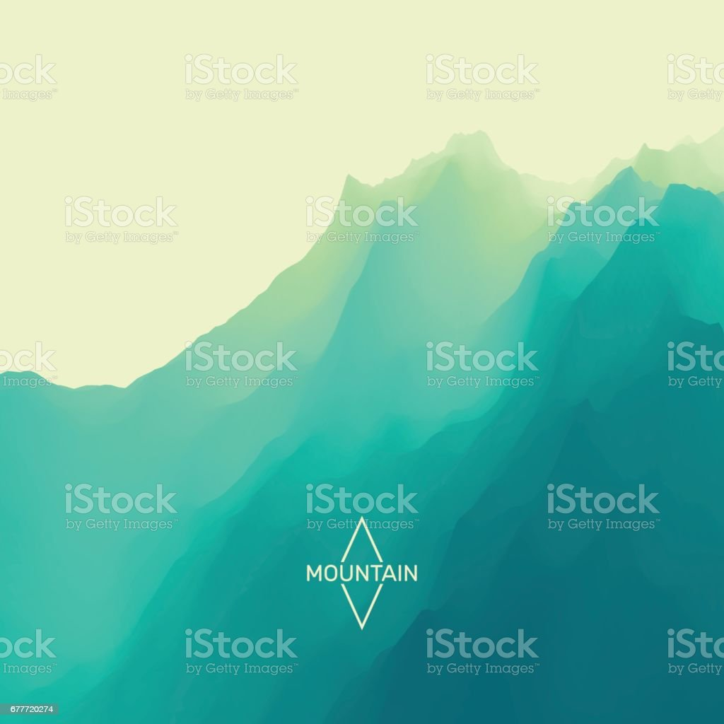 Mountain Landscape. Mountainous Terrain. Abstract Background. vector art illustration