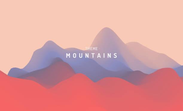 ilustraciones, imágenes clip art, dibujos animados e iconos de stock de paisaje montañoso. terreno montañoso. ilustración vectorial. fondo abstracto. - aparición conceptos