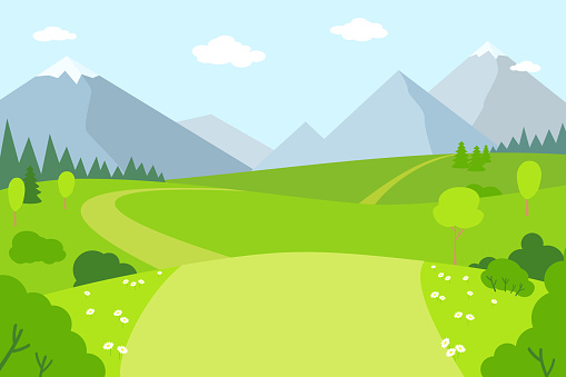 Mountain landscape nature rural flat style vector