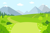 istock Mountain landscape nature rural flat style vector 1221281255