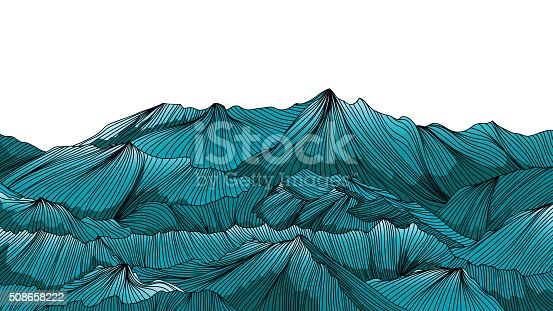 Mountain landscape outline hand draw