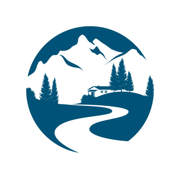 mountain landscape pictogramm vector pictogram with alpine landscape, creek or road, cottage and firs cottage stock illustrations