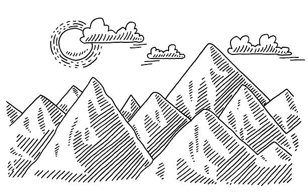 mountain landscape sunny weather drawing - black and white mountain stock illustrations, clip art, cartoons, & icons