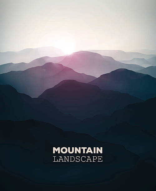 Mountain Landscape Mountain background, landscape. Illustration contains transparency and blending effects, eps 10 mountains in mist stock illustrations
