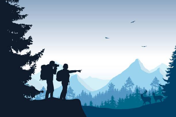 森と観光客飛ぶ鳥と青い空の下、鹿の撮影の山の風景 - 野生動物旅行点のイラスト素材/クリップアート素材/マンガ素材/アイコン素材