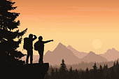 A mountain landscape with a forest and two tourists, under a orange sky with sun