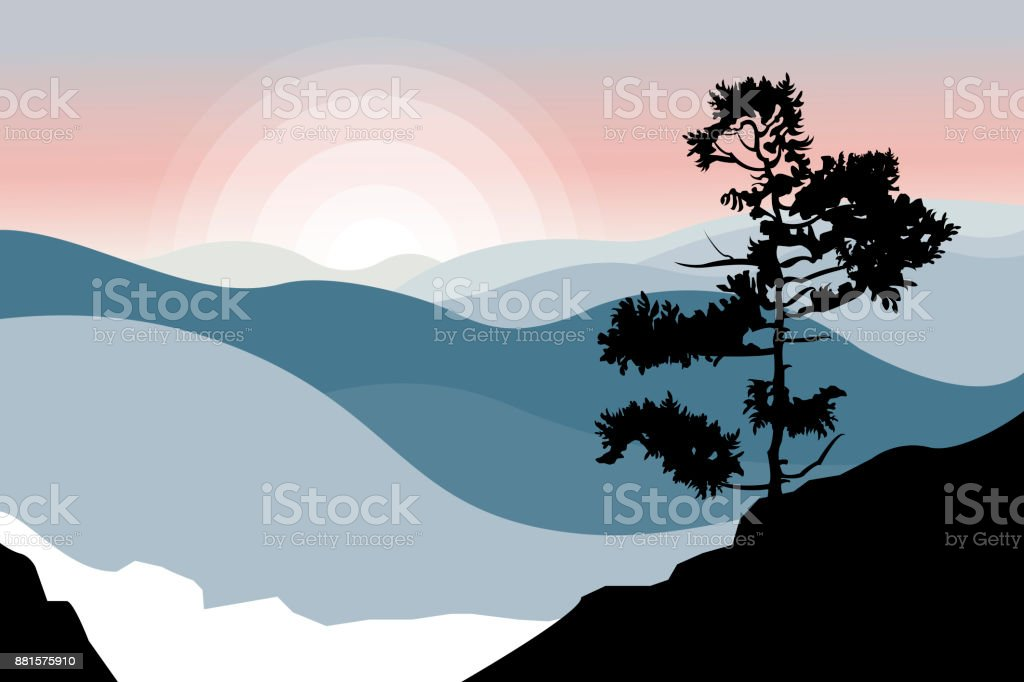 Mountain landscape with a tree in the foreground. Coniferous forest. Winter nature. Travel, outdoor activities, outdoor sports, vacation. Flat style. Vector illustration. vector art illustration