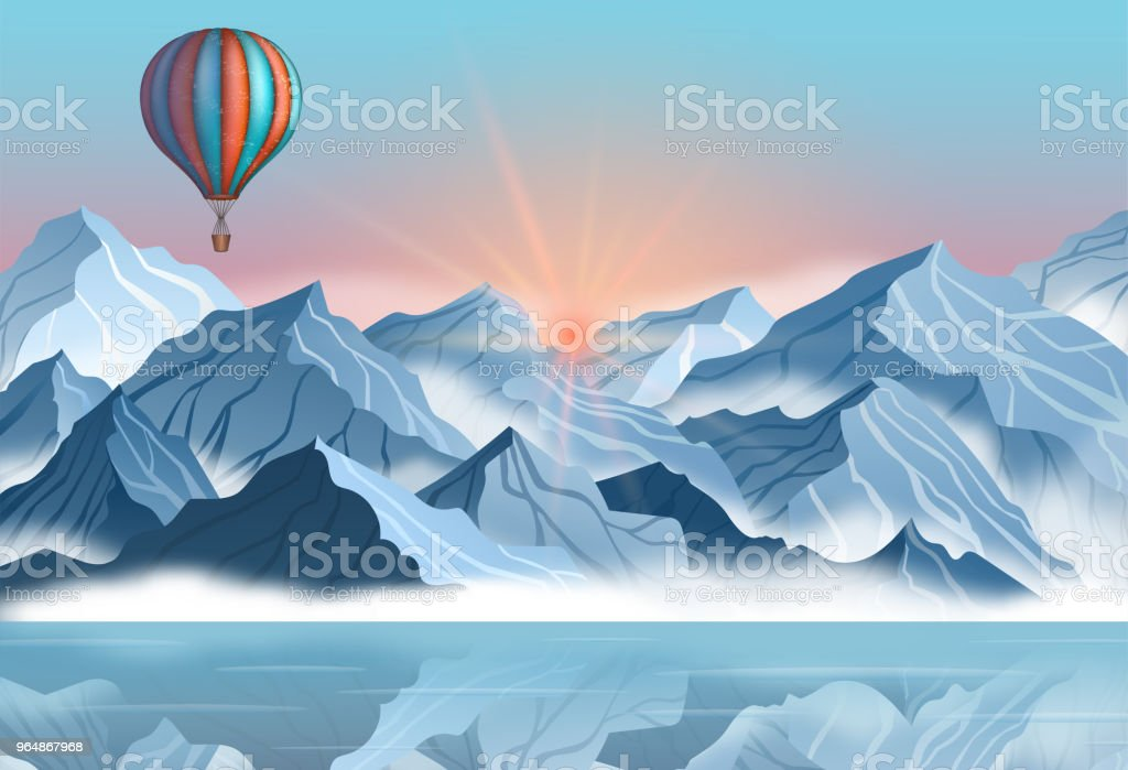 Mountain landscape with colorful hot air balloon in realistic 3d style. Banner with blue winter cliffs, fog, water royalty-free mountain landscape with colorful hot air balloon in realistic 3d style banner with blue winter cliffs fog water stock vector art & more images of adventure