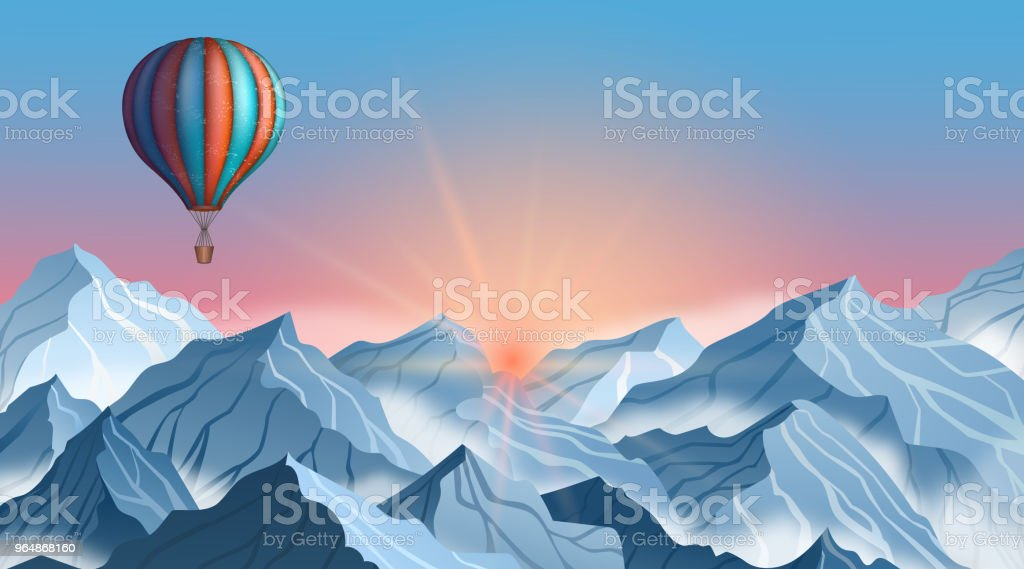 Mountain landscape with colorful hot air balloon in realistic 3d style. Blue winter cliffs with fog royalty-free mountain landscape with colorful hot air balloon in realistic 3d style blue winter cliffs with fog stock vector art & more images of adventure