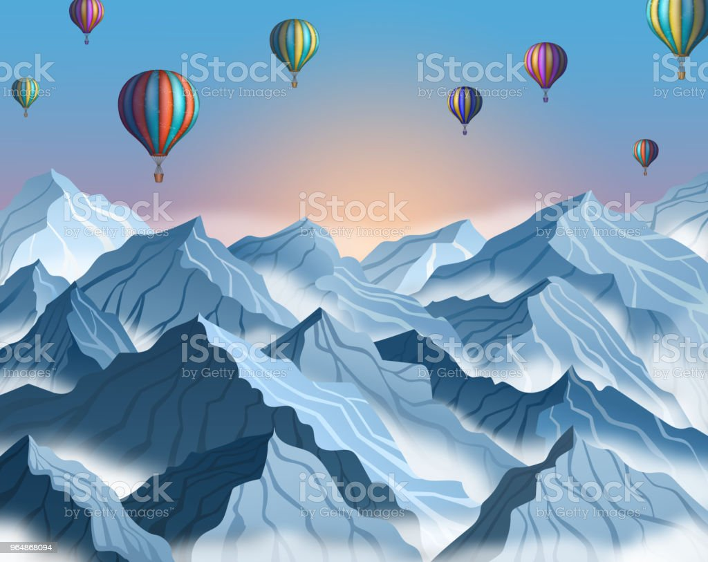 Mountain landscape with colorful hot air balloons in realistic 3d style. Blue winter cliffs with fog royalty-free mountain landscape with colorful hot air balloons in realistic 3d style blue winter cliffs with fog stock vector art & more images of adventure