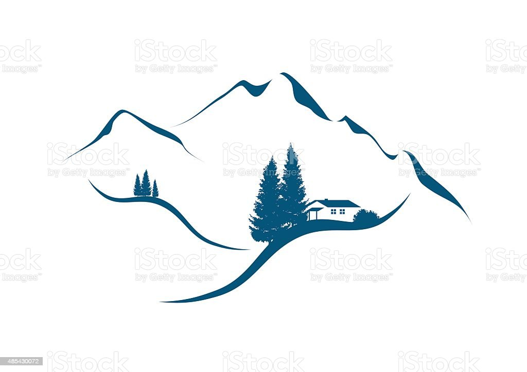 mountain landscape with cottage an firs vector art illustration