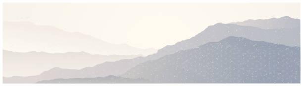 Mountain landscape with decorative elements. vector art illustration