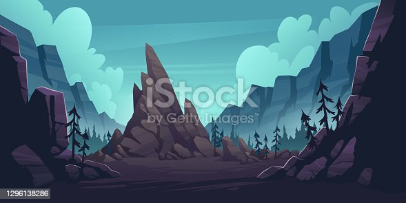 istock Mountain landscape with forest and lonely cliff 1296138286