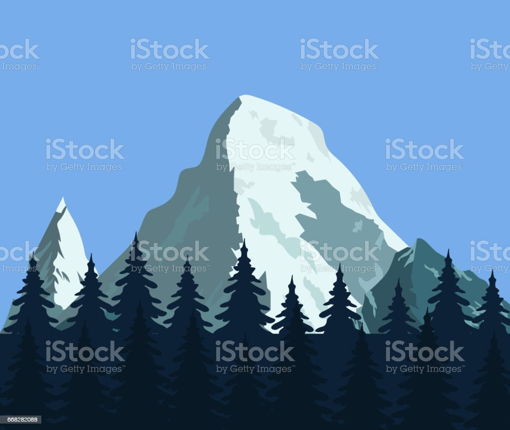 Mountain landscape with forest and rocks royalty-free mountain landscape with forest and rocks stock illustration - download image now