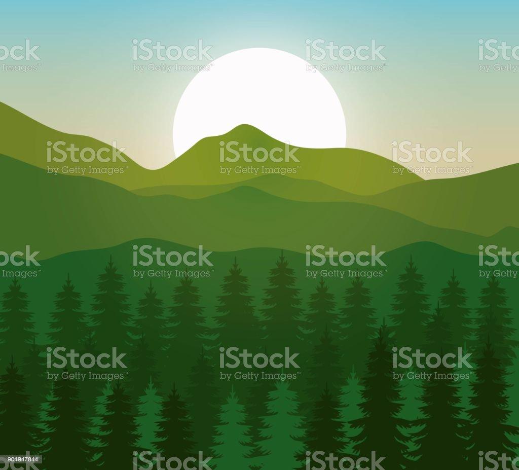 mountain landscape with forest design vector art illustration