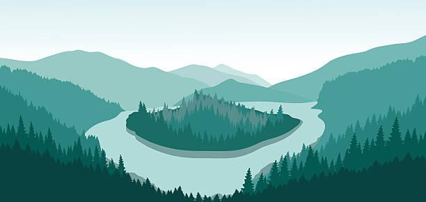 山の風景に囲まれて、島の川を越えます。 - 森林 俯瞰点のイラスト素材/クリップアート素材/マンガ素材/アイコン素材