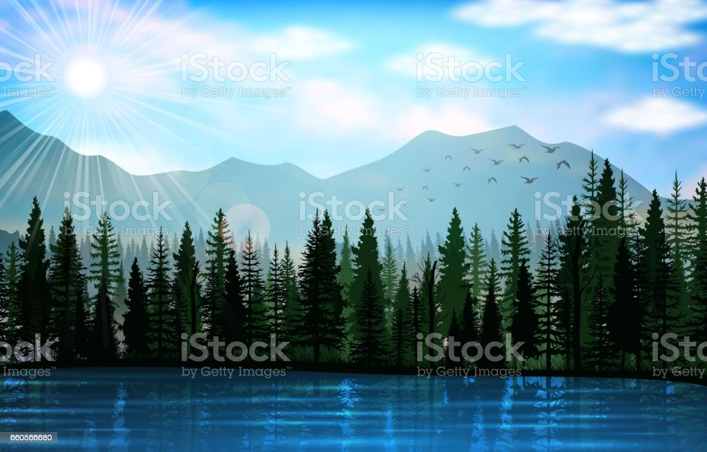 Mountain landscape with lake background vector art illustration