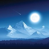 Vector illustration of a mountain landscape with the moon. EPS10 transparency effects.