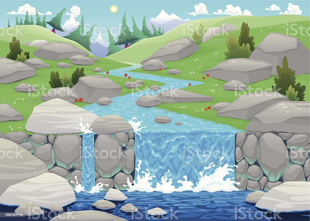 Mountain landscape with river. royalty-free stock vector art