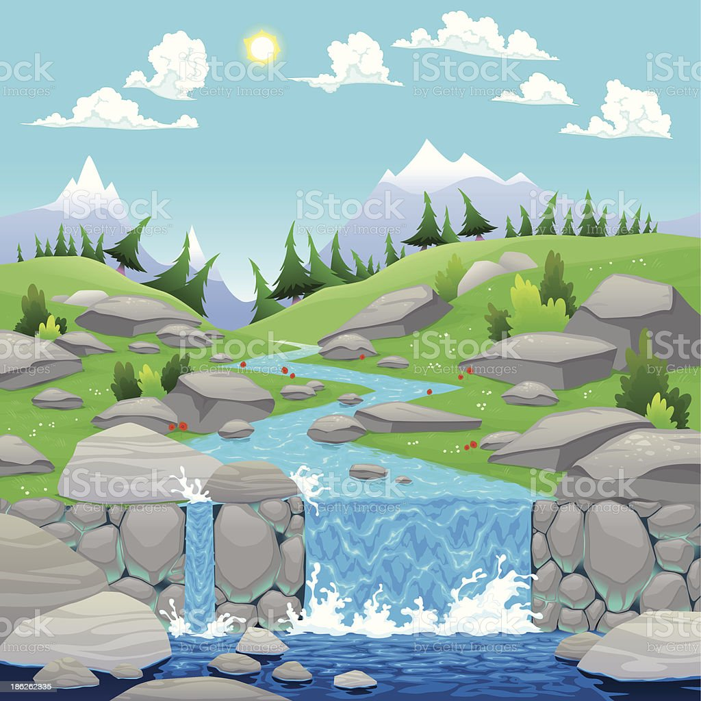 Mountain landscape with river. royalty-free mountain landscape with river stock vector art & more images of cartoon