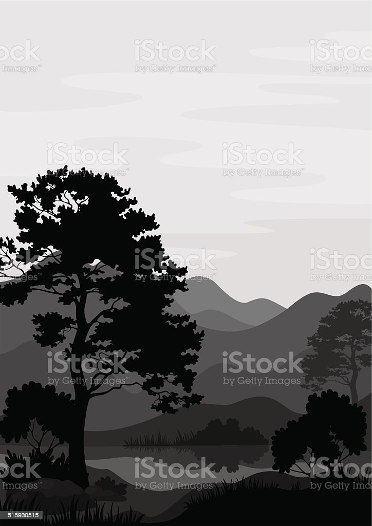 Mountain landscape with tree, silhouettes - Royalty-free Alpen vectorkunst