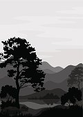 Mountain landscape with pine tree and lake, grey and black silhouettes. Vector