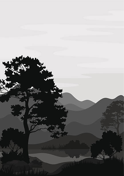 stockillustraties, clipart, cartoons en iconen met mountain landscape with tree, silhouettes - grassenfamilie