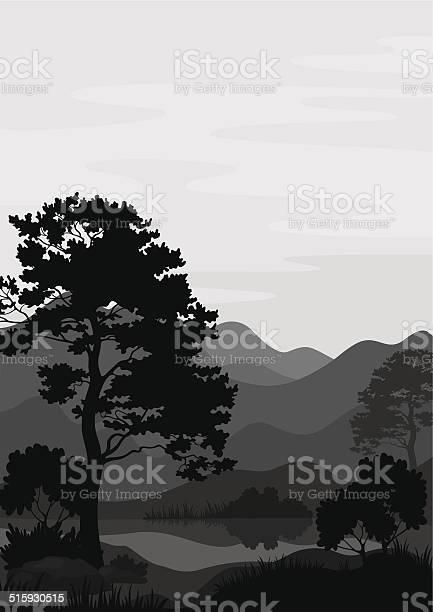 Mountain Landscape With Tree Silhouettes Stockvectorkunst en meer beelden van Alpen