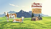 "Mountain landscape with two cows and village in background and lettering ""Farm product"". Vector illustration."