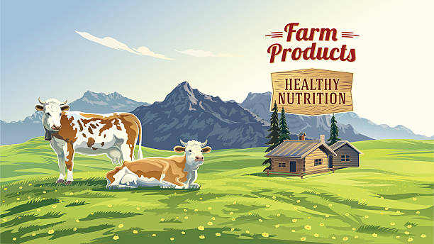 Mountain landscape with two cows. vector art illustration