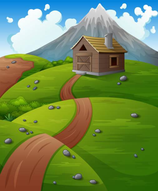 berglandschaft mit holz-ferienhaus in den bergen - landhaus stock-grafiken, -clipart, -cartoons und -symbole
