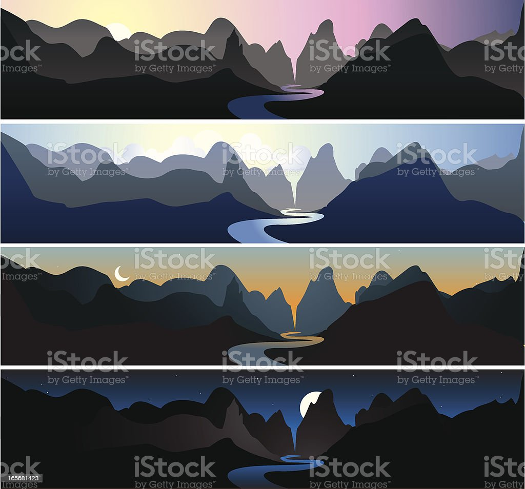 Mountain Landscapes | Dawn, Morning, Dusk, & Night royalty-free mountain landscapes dawn morning dusk night stock vector art & more images of backgrounds