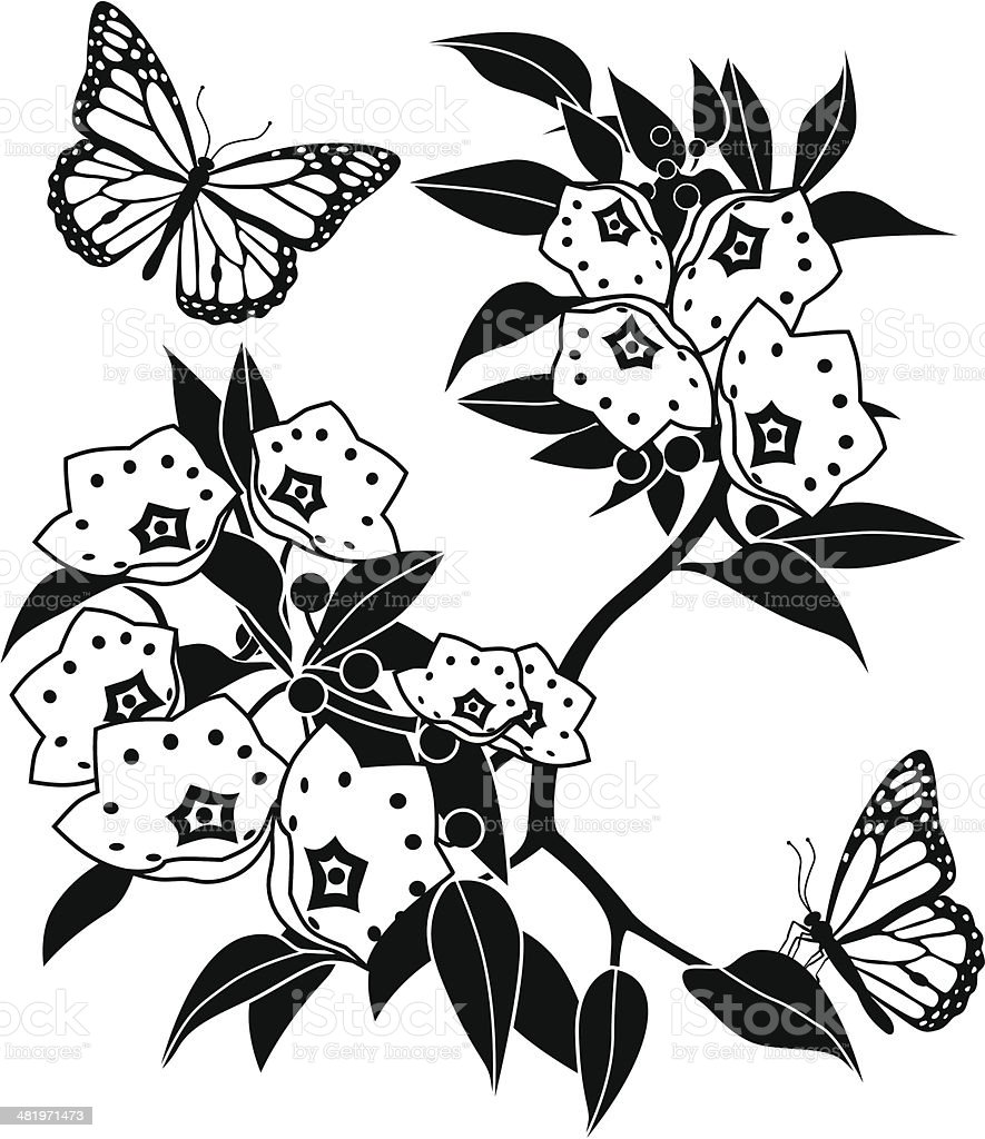 mountain laurel and monarch butterflies stock vector art 481971473